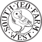 South Yeo Farm West's logo of a barn owl surrounded by the farm name.