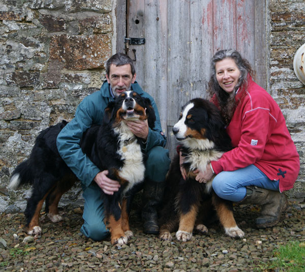 Debbie Kingsley and Andrew Hubbard with their dogs at South Yeo Farm West