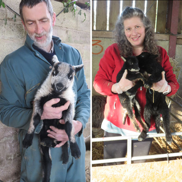 Andrew Hubbard and Debbie Kingsley both holding lambs
