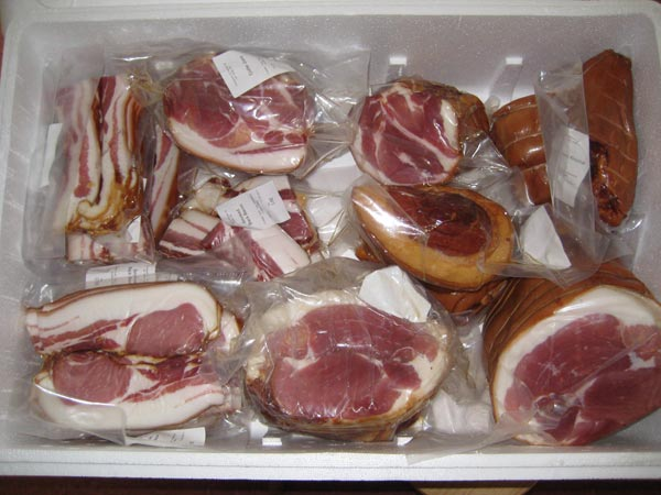 Gammon and bacon meat box contents