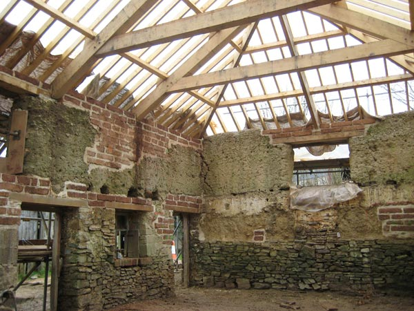 Cob barn undergoing restoration at South Yeo Farm West